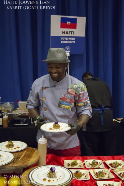 In the Judges' Choice division, Chef Jouvens Jean(Haiti) won third place. He served Kabrit Kreyol with Haitian Cinnamon Water. (photo by Kwai Chan / Meniscus Magazine)