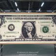"Stone's ""One Buck"" - his sole art piece on display at Artexpo 2018 - is a 52"" x 120"" U.S. one dollar bill that took four-and-a-half months to complete."