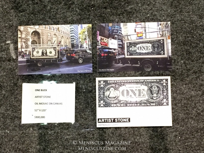 "Images of Stone's ""One Buck"" in New York in 2015 as part of a traveling art exhibit. (photo by Megan Lee / Meniscus Magazine)"