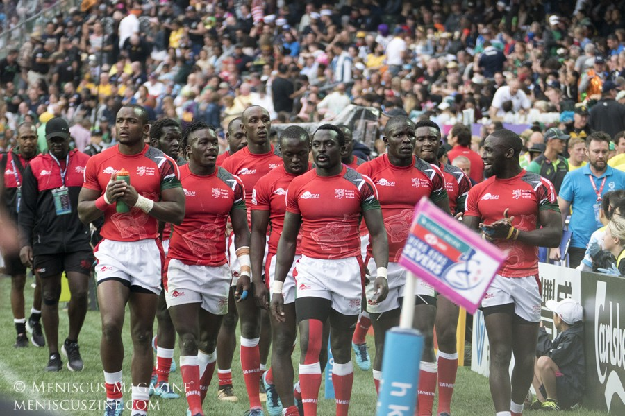 The Kenya rugby sevens team walks off the field after a 28-26 loss to Australian in pool play. (photo by Yuan-Kwan Chan / Meniscus Magazine)