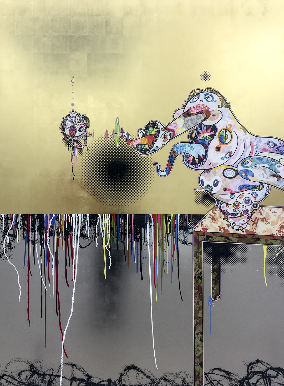 Artist: Takashi Murakami Homage to Francis Bacon (Second Version of Triptych (on light ground)) (2016) Acrylic, gold and platinum leaf on canvas mounted on aluminum frame Triptych (one of three panels) (photo by Megan Lee / Meniscus Magazine)