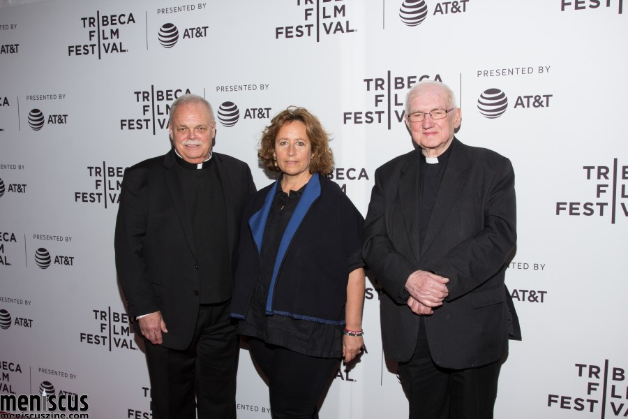 "Father Bob Weiss (left), Kim A. Snyder (center) and Father Basil O'Sullivan on Apr. 29 at the Tribeca Film Festival. Father O'Sullivan is from Dunblane, Scotland, where a shooting at an elementary school in 1996 led to stricter gun control laws in Great Britain.  Sixteen years later, following a similar mass shooting at Sandy Hook Elementary School in Newtown, Conn., Father O'Sullivan reached out to Father Weiss after the latter was asked to bless the bodies of the 26 deceased. Snyder directed both ""Notes from Dunblane: Lessons from a School Shooting"" and the documentary ""Newtown."" (photo by Yanek Che / Meniscus Magazine)"