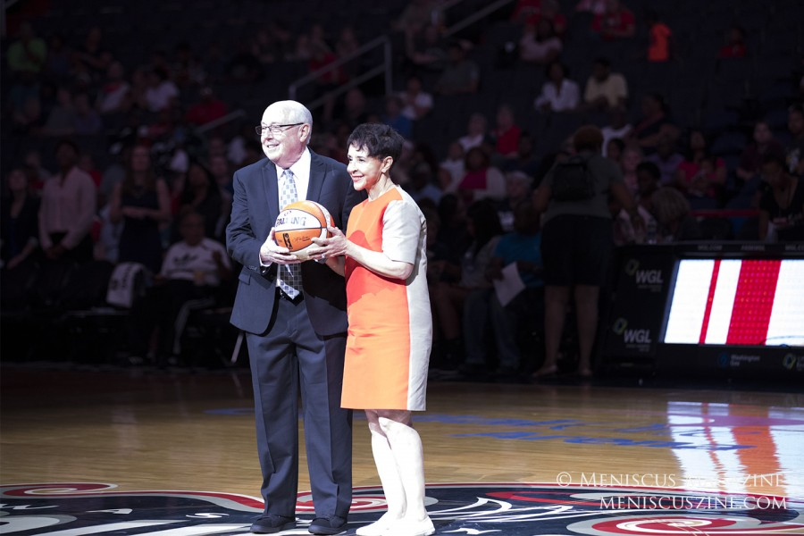 Before the game started, there was a ceremony to celebrate Washington's Mike Thibault (left) as the winningest coach in WNBA history with 300 career victories.  Congratulations, Coach Thibault! (photo by Kwai Chan / Meniscus Magazine)