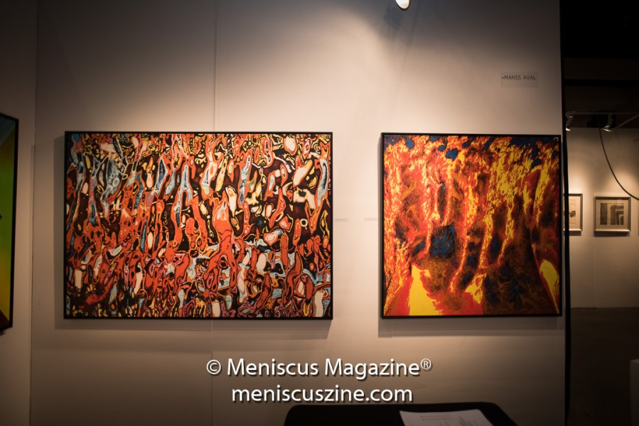 Artist: Manss Aval (left) Dante's Visit, 2015 Oil on canvas 48 × 71 × 2 in; 121.9 × 180.3 × 5.1 cm (photo by Ali Zandi / Meniscus Magazine)