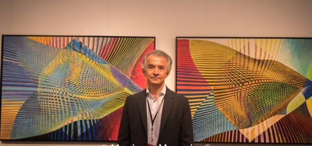 Several of Manss Aval's abstract works were on display at the 2017 LA Art Show at the Los Angeles Convention Center.
