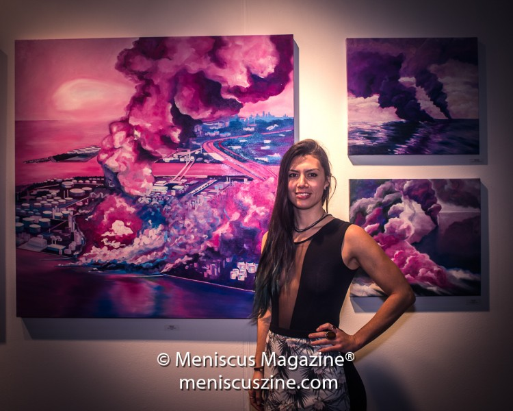 Artist Mika Revell at the 2017 LA Art Show. Born in Australia, she is based in Brooklyn, and has completed residencies in Japan and Thailand. (photo by Ali Zandi / Meniscus Magazine)