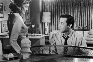 "Victoria Shaw (left) and James Shigeta in ""The Crimson Kimono."" (still courtesy of KCET)"