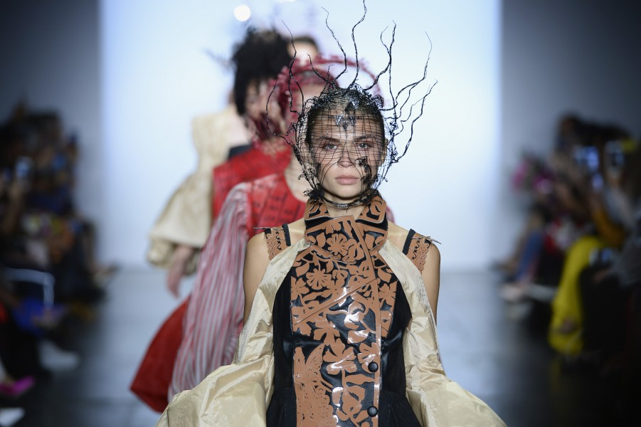 Fantastical Suedeson outfits and headgear at the Indonesian Diversity runway show, which took place at New York Fashion Week Spring 2019. (photo by Fernanda Calfat)