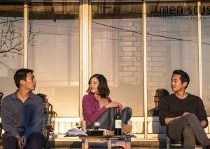 "Yoo Ah-in (left), Jeon Jung-seo (center) and Steven Yeun in a scene from ""Burning."" (still courtesy of the Busan International Film Festival)"