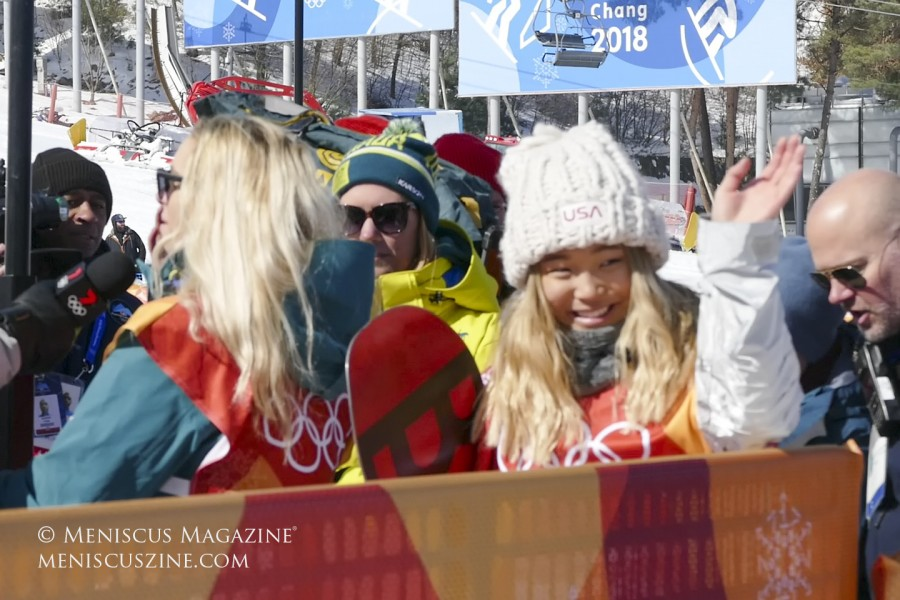 Chloe Kim greets fans after capturing the gold medal in PyeongChang. (photo by Yuan-Kwan Chan / Meniscus Magazine)