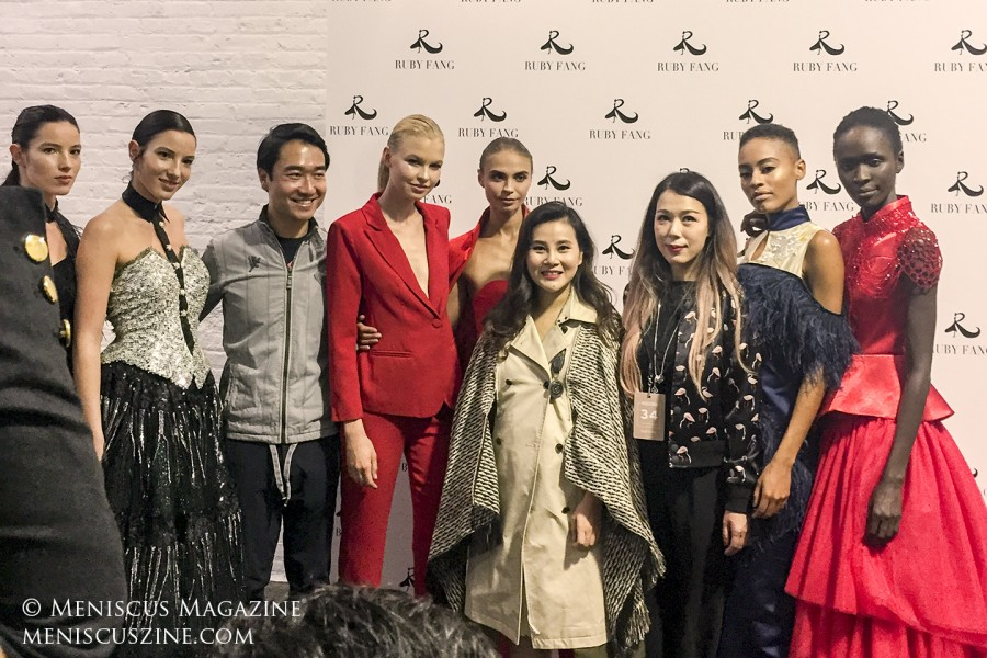 Designer Ruby Fang (fourth from right) backstage after her Spring 2019 runway show in New York. (photo by Megan Lee / Meniscus Magazine)