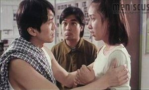 "Stephen Chow (left), a befuddled Eric Kot (center) and Kristy Yang in ""The Lucky Guy."" (still courtesy of Hong Kong Cinemagic)"
