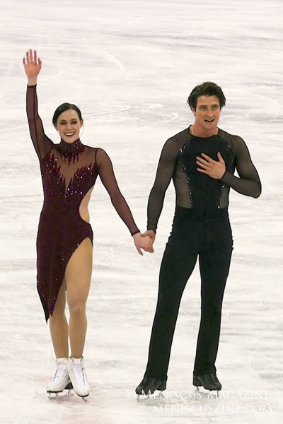Tessa Virtue (left) and Scott Moir after their free dance program at the 2018 Olympic Games in South Korea. (photo by Yuan-Kwan Chan / Meniscus Magazine)