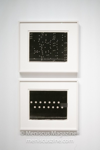 "Artist: Marsha Cottrell Top: ""Untitled (Notation)"" (2018) Laser toner on paper 8 1/2 × 11 in 21.6 × 27.9 cm Bottom: ""Untitled"" (2018) Laser tone r on paper( 8 1/2 × 11 in 21.6 × 27.9 cm (photo by Asya Gorovits / Meniscus Magazine)"