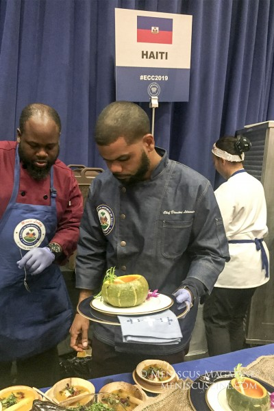 "The winner of the People's Choice Award, Chef Dimitri Lilavois of Haiti, prepared his ""La revolution,"" Surf and Turf Pumpkin Soup. (photo by Megan Lee / Meniscus Magazine)"