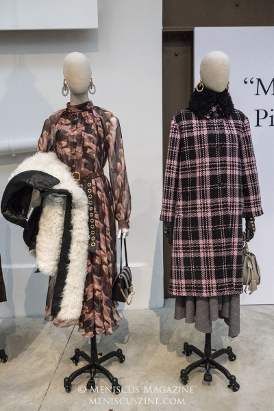 (left) BRIANNA CAPE in off white curly shearling; SASHA DRESS in icy pink camouflage feather chiffon (right) ISABELLA COAT in icy pink houndstooth chunky wool check; MARINA DRESS in royal blue superfine micro check; FRAN COLLAR in black curly shearling (photo by Yuan-Kwan Chan / Meniscus Magazine)