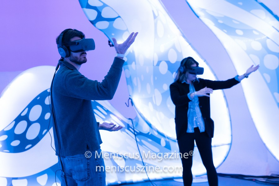 "Tribeca Film Festival attendees discover a virtual ecosystem in ""Drop in the Ocean."" (photo by Asya Gorovits / Meniscus Magazine)"