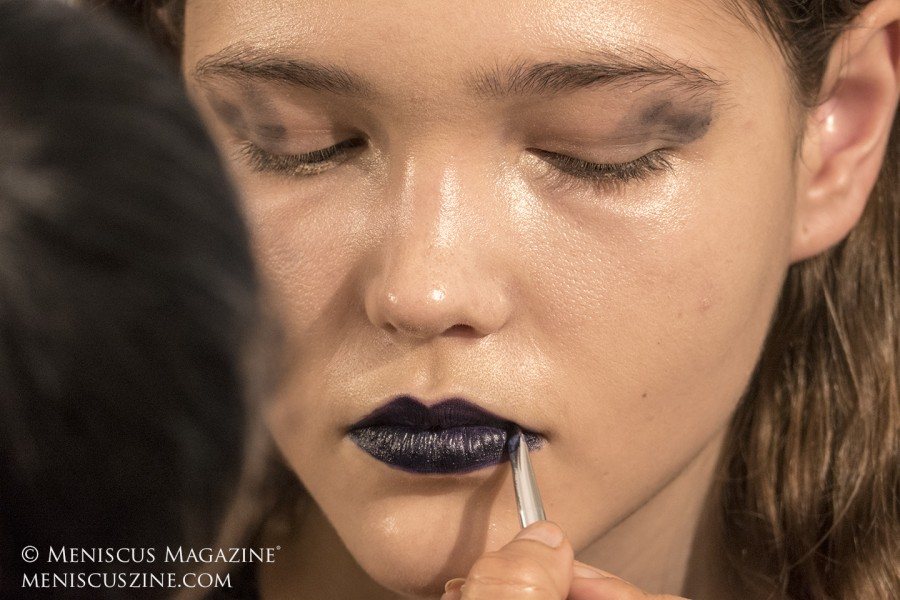 Coloring for the lips required a combination of three different types of Ben Nye stage make-up products, painstaking applied with a lip brush in order to achieve a deep dark blue. (photo by Yuan-Kwan Chan / Meniscus Magazine)