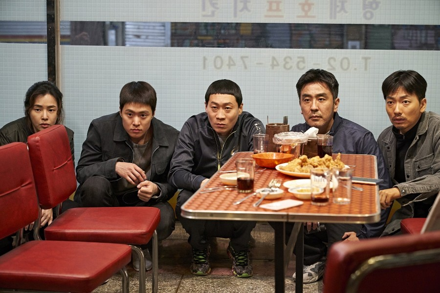 "Lee Hanee, Gong Myung, Jin Seon-kyu, Ryoo Seung-ryong and Lee Dong-hwi in ""Extreme Job."" (still courtesy of the Busan International Film Festival)"