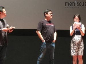 "Eric Khoo (center) at the Oct. 4 screening of ""Mee Pok Man"" at the Lotte Cinema Centum City in Busan. (photo by Yuan-Kwan Chan / Meniscus Magazine)"