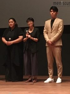 "Actress Tsai Jia-yin (left), director Hsieh Pei-Ju (center) and actor Chang Yao-jen at the Oct. 6 screening of ""Heavy Craving"" at the 2019 Busan International Film Festival. (photo by Yuan-Kwan Chan / Meniscus Magazine)"