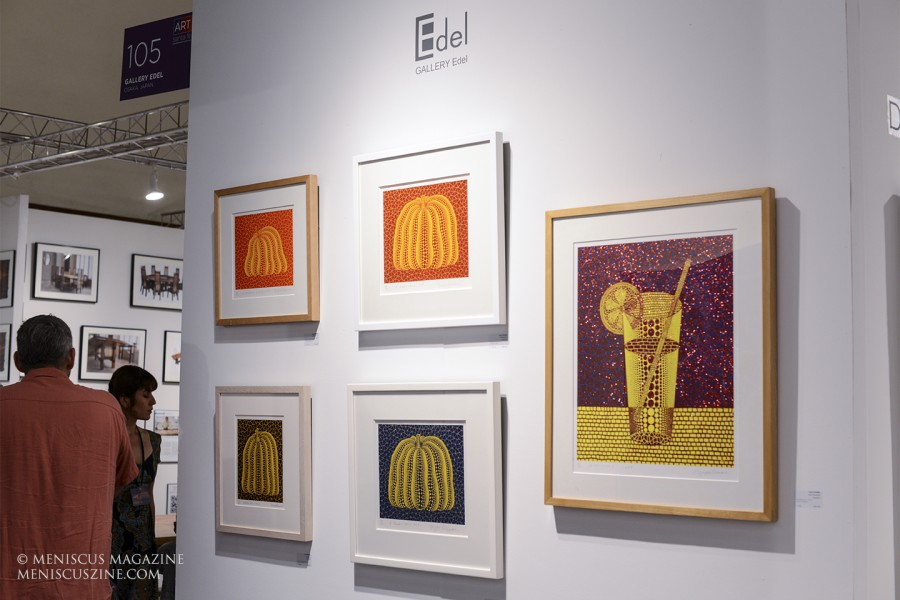 "Clockwise, from top left: ""A Pumpkin Yor"", ""A Pumpkin RY"", ""Lemon Squash (5)"", ""A Pumpkin (BY)"", and ""Pumpkin ST"". The artist was represented by Gallery Edel, of Osaka, Japan. (photo by Derrick Henry / Meniscus Magazine)"