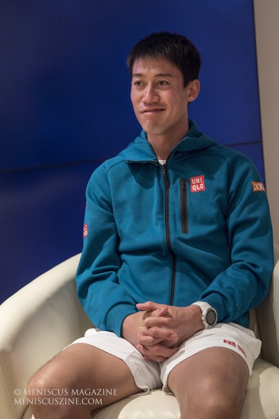 Kei Nishikori at the Ward Village on Dec. 26, 2019, ahead of the Hawaii Open. When asked about whether the acai bowl or the poke bowl won out in a taste test, he chose the latter. (photo by Kwai Chan / Meniscus Magazine)