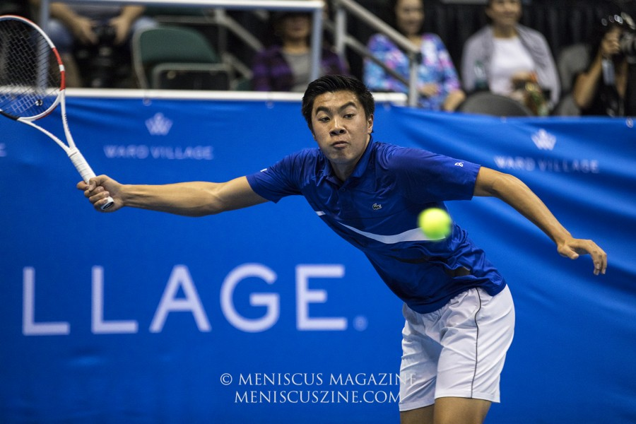Brandon Nakashima won 87 percent of his first serve points and 67 percent of his second serve points in the second set of the Hawaii Open final against Sam Querrey. (photo by Kwai Chan / Meniscus Magazine)