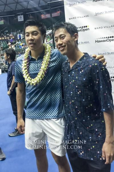 Brandon Nakashima (left) and Kei Nishikori. (photo by Kwai Chan / Meniscus Magazine)