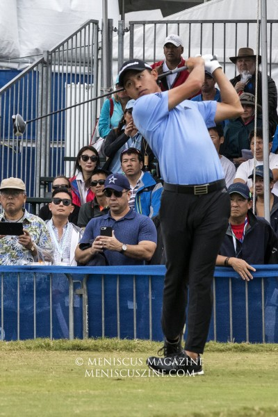 Collin Morikawa, 22, is a former top-ranked amateur golfer (No. 1 in the World Amateur Golf Ranking in 2018). He turned pro last year, winning the Barracuda Championship in his rookie season. He headed into the final round of 2020 Sony Open tied for fourth place at 7-under par, in part thanks to being the only golfer to score a bogey-free first round. (photo by Kwai Chan / Meniscus Magazine)