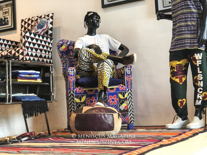 An outfit by the label BLOKE, helmed by designer Faith Oluwajimi. His design was part of a presentation run at the four-floor concept store ALARA, located at Victoria Island. (photo by Andie Davis / Meniscus Magazine)