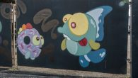 At POW! WOW! Hawaii, artists decorated the city of Honolulu with colorful murals. Gary Draws Fish specializes in - you guessed it - drawing fish.