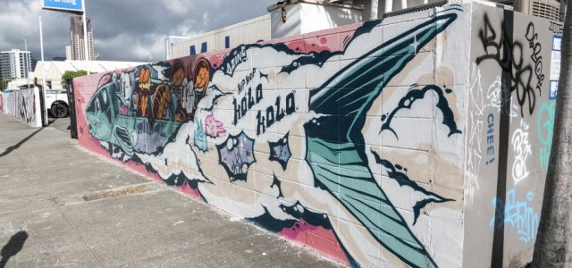 """CKaweekS' finished mural, """"Hip Hop Holo Holo,"""" featured a bonefish train on Coral St. in Honolulu."""